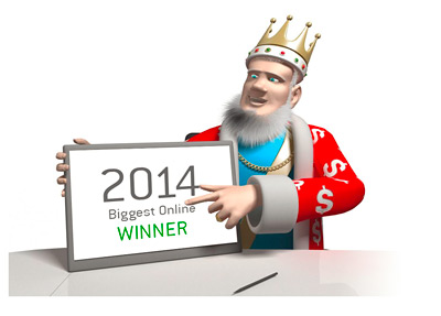 The King presents the biggest online cash winner of year 2014