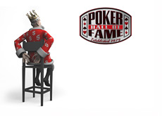The King is looking at the Poker Hall of Fame logo