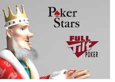 king is looking at the logos of pokerstars and full tilt poker