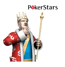 The King is standing next to the Pokerstars logo