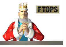 poker king in the thinking pose - ftops logo