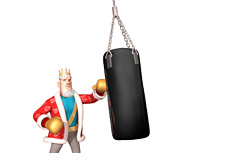 The King in training - punching a bag
