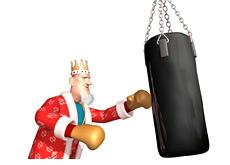 -- poker king is punching a boxing bag --