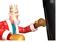 -- King in training - punching a bag --