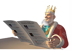 -- King reading morning newspaper --