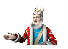 The King is reading the latest news from the poker world to his readers