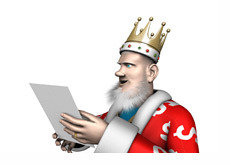 The King is reading the latest news from the poker world - Pokerstars and PokerTableRatings.com