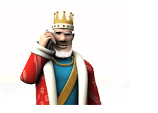 The King is receiving news on his mobile phone