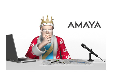 The Poker King is contemplating the Amaya Inc. situation.  Studio shot.