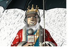 The King is reporting from under an umbrella - Heavy rain outside