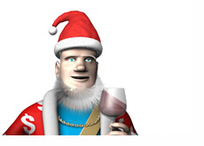 The King is giving the latest high stakes poker update while wearing a Santa hat and drinking wine