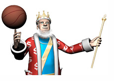 The King is spinning a basketball on his finger