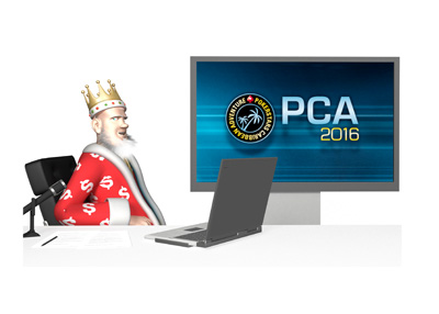 From his TV studio, the King is updating on the latest happenings from the 2016 PCA (Pokerstars Caribbean Adventure) tournament