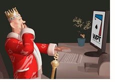 poker king is surfing the wpt website - thinking