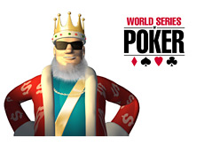 -- Poker King wearing shades with the WSOP logo in the background --