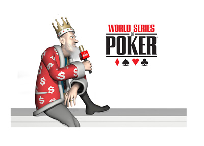 The Poker King is sitting on a wall with a mic in his hand.  Reporting on the latest from the 2016 World Series of Poker tournament