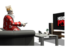-- The King is sitting comfortably on his sofa watching an episode of HSP on his plasma TV - High Stakes Poker --