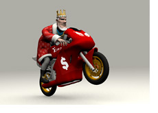 The King is doing a wheely on his motorbike