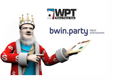 King reporting the news - WPT and Bwin.Party logos