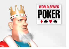 poker king and the wsop sign - world series of poker