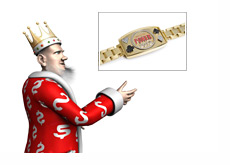 The King is pointing to a WSOP 2012 Gold Bracelet