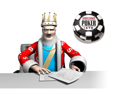 The King is presenting the news from the 2014 World Series of Poker - WSOP Chips in the background