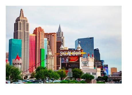 Las Vegas Nevada - Skyline - Sunny Morning - Photo - Excalibur Hotel