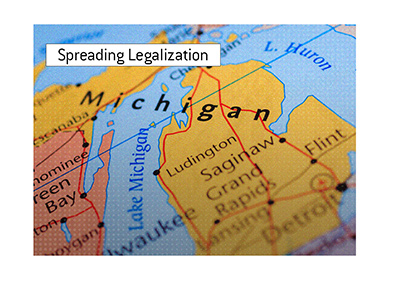 The legalization of poker is spreading in the United States.  Michigan signs on.