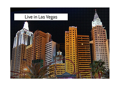 Night shot of Las Vegas - The World Series of Poker is played live again.