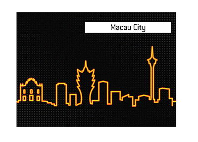The illustrated skyline of the fabulous Macau City.