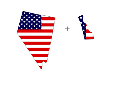 States of Nevada and Delaware form poker compact - Illustration - American Flag - Map of states