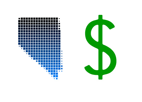 State of Nevada outline next to the dollar sign - Revenues - Illustration