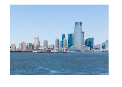The New Jersey city skyline on a clear day.