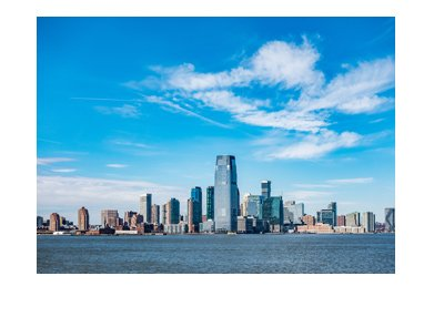 The New Jersey skyline.  Photo taken on a beautiful sunny day.  Year is 2017.