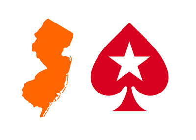 State of New Jersey map in orange colour next to the Pokerstars red spade logo