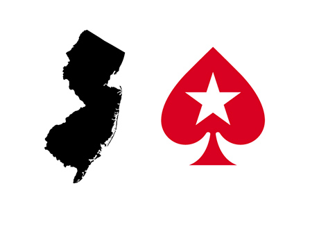 The map of New Jersey state in black next to the Pokerstars simplified - Spade with a star - logo