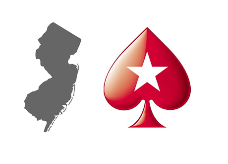 New Jersey Map Outline and Pokerstars Spade Logo