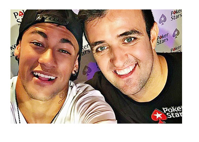 Neymar Junior joins Pokerstars - Posing with Brazilian poker player Andre Akkari