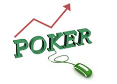 growth of online poker - computer mouse - arrow going up - word poker in 3d