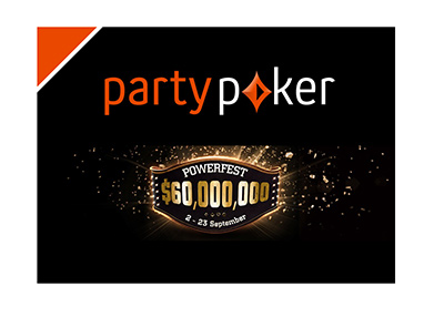 PartyPoker Powerfest series - Year is 2018 - Company and tournament logos on black background.