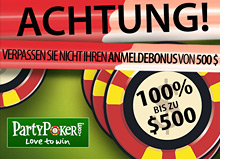 promo bonus - party poker germany - up to 500 free
