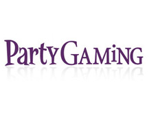 company logo - partygaming - white background - purple letters