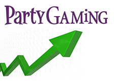 company logo and a graph arrow - partygaming