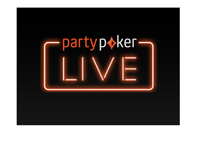 Partypoker Live - Neon sign logo on black background - 2018.