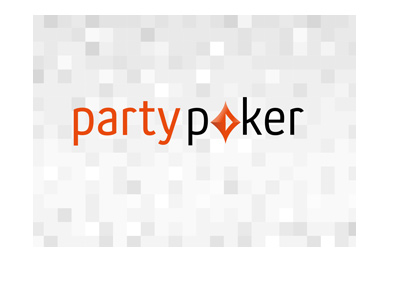 Partypoker logo with a pixelated white and grey background.