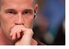 Poker Face - Patrik Antonius with a blank stare - Listening to music