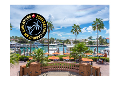 Pokerstars Caribbean Adventure - 2018 - Bahamas - Logo and hotel photo.