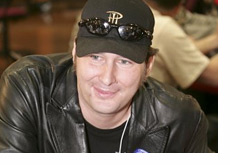 Phil Hellmuth wearing a leather jacket