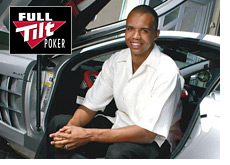 poker player phil ivey sitting in his fancy car - full tilt poker logo imposed over
