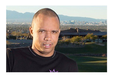 Phil Ivey posing in front of the Las Vegas skyline. Instagram photo.